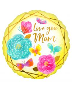 Love you Mom kukat foliopallo